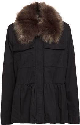 Kate Spade Faux Fur-trimmed Cotton Jacket