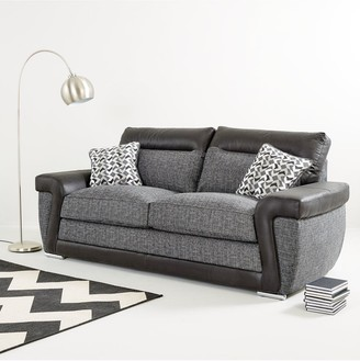 Geo Fabric and Faux Leather 3-Seater + 2-SeaterSofa Set (Buy and SAVE!)
