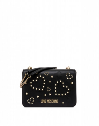 Love Moschino Shoulder Bag With Hearts And Studs Woman Black Size U It - (one Size Us)