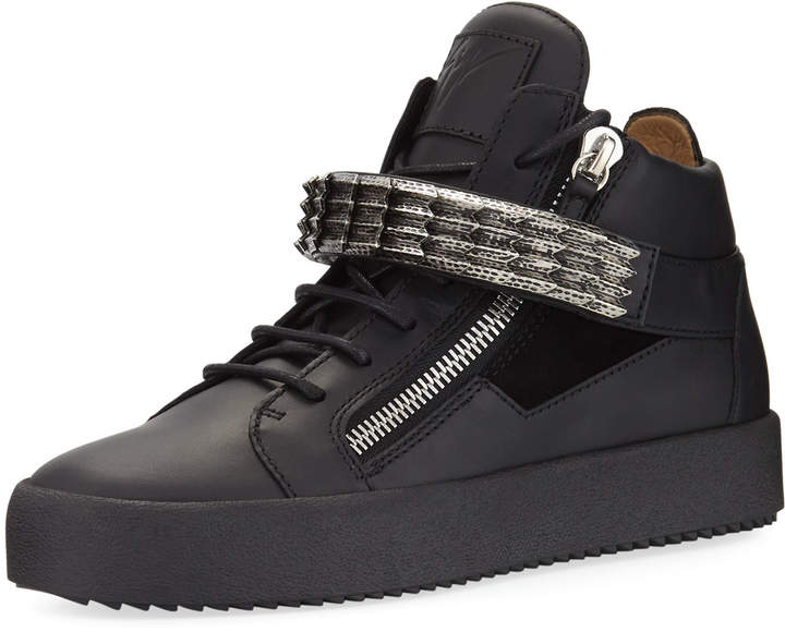 Giuseppe Zanotti Stan Suede & Leather Mid-Top Sneaker