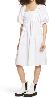 Topshop Tiered Puff Sleeve Cotton Dress