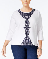 Alfred Dunner Plus Size Uptown Girl Collection Lace-Trim Top