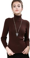 Macoking Women's Cashmere Sweaters Classic Solid Turtle-Neck Slim-Fit Pullovers 22.8in Long