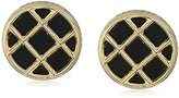 House Of Harlow Gold/Black Phoebe Caged Button Stud Earrings