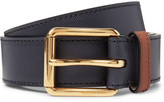 Burberry 3.5cm Embossed Leather Belt - Navy