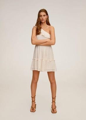 MANGO Asymmetrical ruffle dress off white - 6 - Women