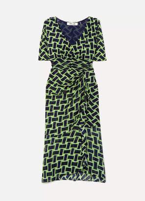 Diane von Furstenberg Farrell Printed Mesh Dress - Black