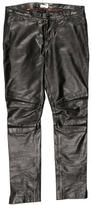 Paul Smith Leather Straight-Leg Pants