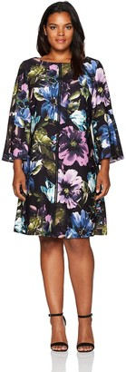 Gabby Skye Women's Plus Size Floral Dress with Bell Sleeves Petite