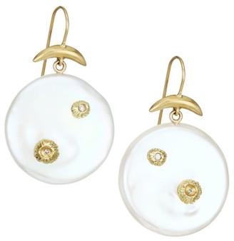 Annette Ferdinandsen 18K Yellow Gold, Mother-Of-Pearl & Diamond Drop Earrings