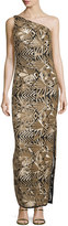 Laundry by Shelli Segal One-Shoulder Sequined Gown, Gold