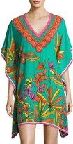 Trina Turk Theodora Floral Silk Tunic, Cabana Teal