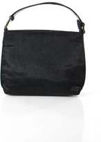 Gucci Black Satin Leather Trimmed Silver Accent Small Evening Handbag