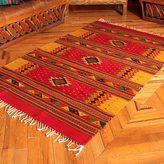 Novica Handcrafted 'A Thousand Stars' Beige Red Zapotec Wool Rug (4 x 6.5) (Mexicow)