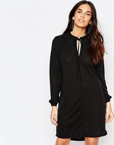 Warehouse Long Sleeve Tie Neck Dress
