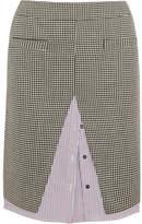 Wanda Nylon Houndstooth Wool-blend Tweed And Striped Cotton-poplin Midi Skirt