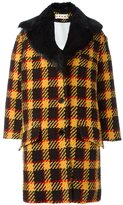 Marni checked single breasted coat - women - Cotton/Viscose/Wool/Beaver Fur - 40