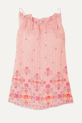 CHUFY Taquile Ruffled Floral-print Metallic Fil Coupe Chiffon Top - Pink