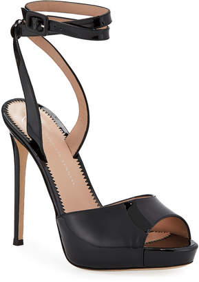 Giuseppe Zanotti Ankle-Wrap Patent Stiletto Sandals