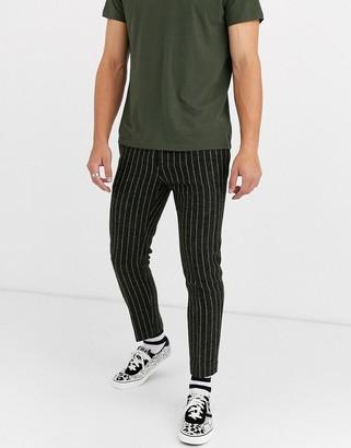 ASOS DESIGN slim crop smart trousers in wool mix stripe in green