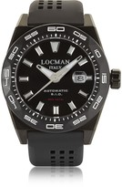 Locman Stealth 300 mt Analog Display Automatic Self Wind Black PVD Stainless Steel, Titanium and Silicone Men's Watch