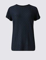 M&S Collection Spotty Frill Short Sleeve T-Shirt