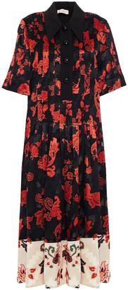 Tory Burch Pintucked Floral-print Devore-velvet And Crepe Midi Dress