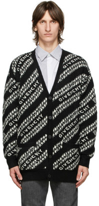 Givenchy Black and White Oversized Chain Cardigan