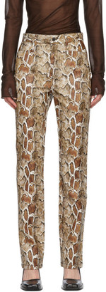 Proenza Schouler Brown White Label Snake Straight Trousers