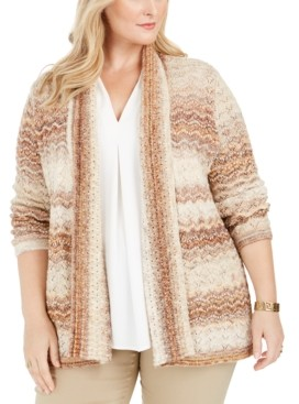 Alfred Dunner Plus Size First Frost Space-Dye Pointelle Cardigan Sweater