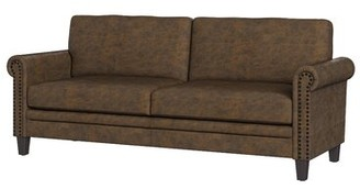 """Three Posts Cheryl 79.75"""" Wide Faux Leather Rolled Arm Sofa Leather Type: Saddle Brown Faux Leather"""