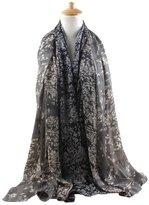 FEOYA Women Jungle Leaf Pashmina Scarf Printed Silk Blend Infinity Shawl Wrap