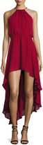Haute Hippie Silk Asymmetric High-Low Dress, Crimson