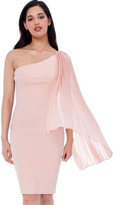 Goddiva Nude Chiffon Sleeve One Shoulder Midi Dress