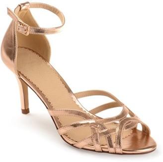 Brinley Co. Women's Faux Leather Ankle Strap Metallic Heels