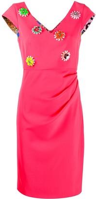 Moschino flower embellished midi dress