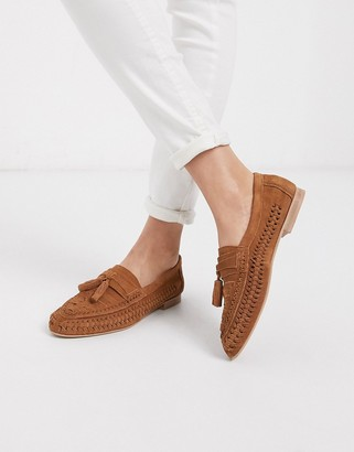 Asos DESIGN Marble suede weave flat shoes in tan