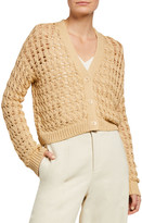 Vince Button-Front Open Cable Cardigan