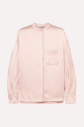 Vince Collarless Silk-satin Blouse - Pastel pink