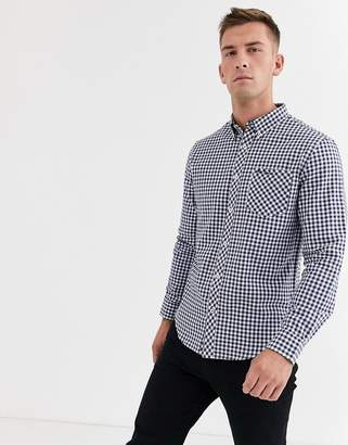 Ben Sherman Slim Fit Brushed Gingham Shirt-Blue
