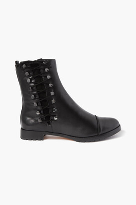 Alexandre Birman Izzie Lace-up Suede-trimmed Leather Ankle Boots