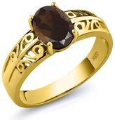 Gem Stone King 1.20 Ct Oval Smoky Quartz 14K Yellow Gold Ring