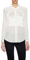 Rebecca Taylor Silk Tiered Fringe Blouse