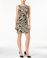 Connected Sleeveless Printed Sheath Dress