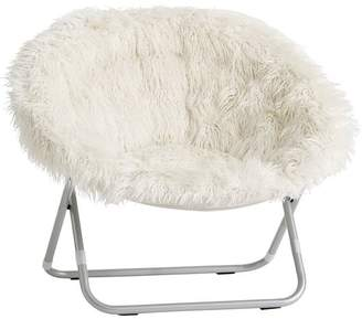 Pottery Barn Teen Ivory Fur-Rific Hang-A-Round Chair with Silver Base