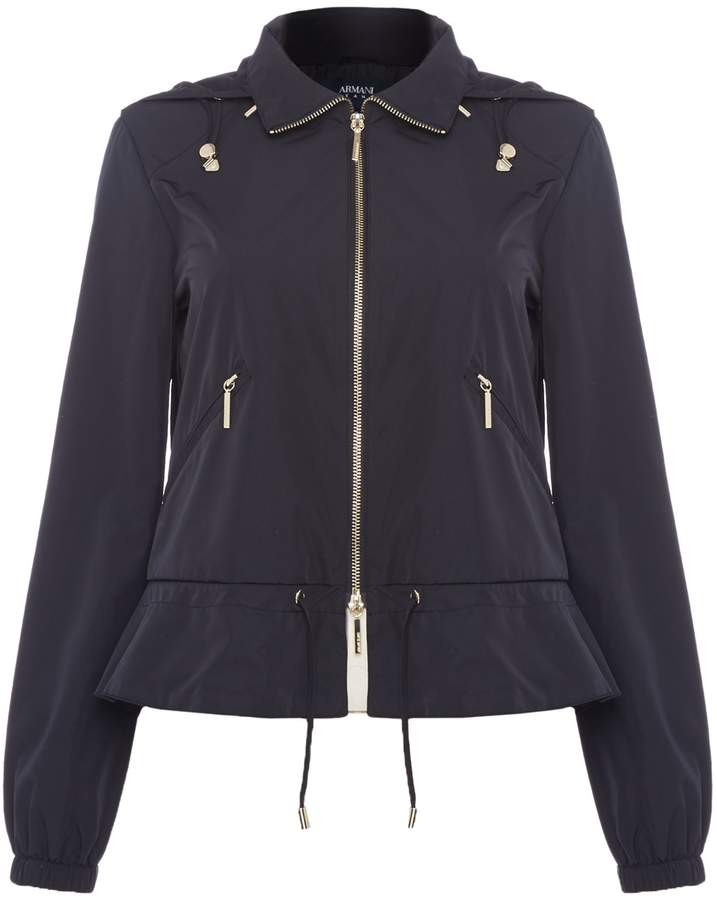 Armani Jeans Cropped peplum lightweight parka coat in blu