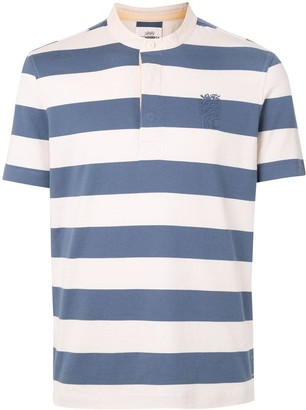 Kent & Curwen Logo Crest Embroidered Striped Polo Shirt