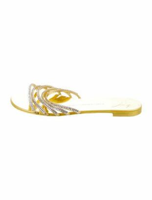 Giuseppe Zanotti Leather Crystal Embellishments Slides Gold