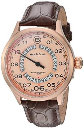 Ben & Sons Men's Analogue Quartz Watch with Leather Strap BS-10017-RG-016-BRW