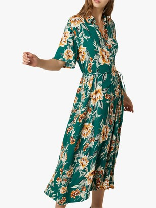 French Connection Claribel Floral Print Midi Dress, Evergreen/Multi